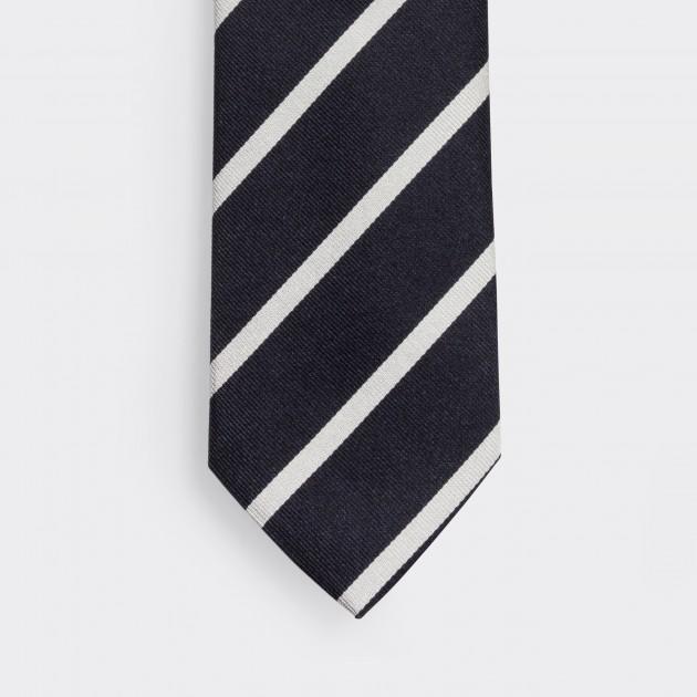 Cravate Rayures Club : Marine/Blanc