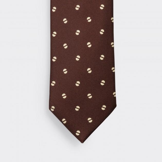 Cravate Grain de Café Soie: Marron/Beige