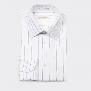 Striped French Collar Shirt : White/Navy