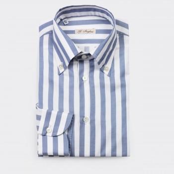 Chemise Col Boutonné Butcher Stripes : Bleu/Blanc