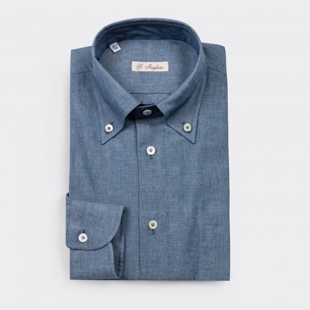 8e72403b9e8a7d G. Inglese   Chambray Button-Down Shirt   Blue