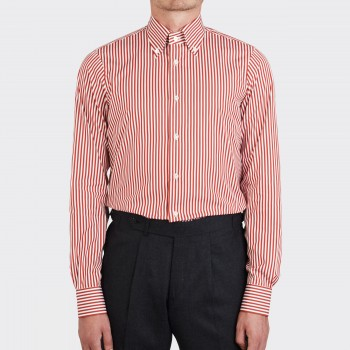 Chemise Col Boutonné Rayures Bengal : Rouille/Blanc