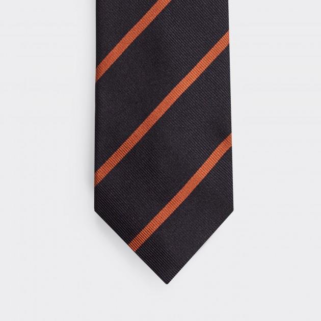 Cravate Rayures Club  : Marine/Orange