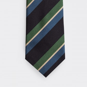 Cravate Rayures Club  : Marine/Vert/Blanc/Bleu