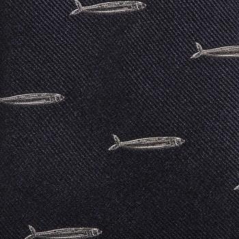 Cravate « Sardine » Soie : Marine/Gris