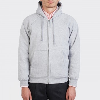 Sweatshirt Capuche à Zip : Gris Chiné