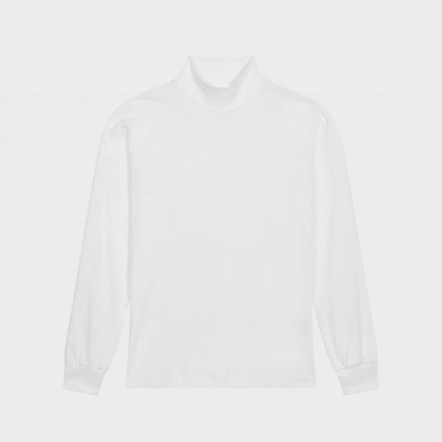 T-Shirt Fin Col Cheminée : Blanc