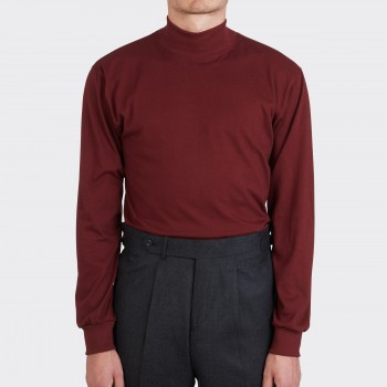 T-Shirt Fin Col Cheminée : Rouge Harvard