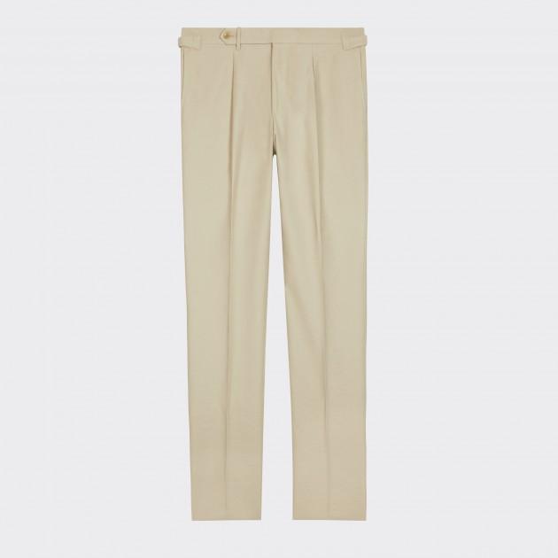 Pantalon en Gabardine Texturée : Écru