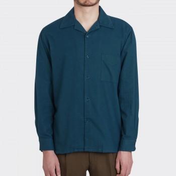 Chemise Flanelle Camp Collar : Bleu Pétrole