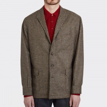 Teba Jacket Pied de Coq en Tweed : Marron/Beige