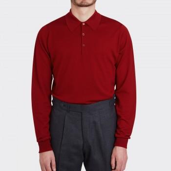 Merino Wool Long Sleeves Polo Shirt : Dark Red