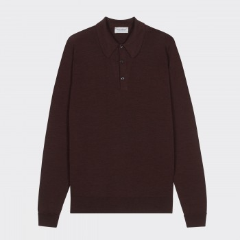 Merino Wool Long Sleeves Polo Shirt : Chestnut