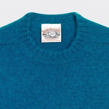 Pull Col Rond Laine Peignée : Bleu Azur
