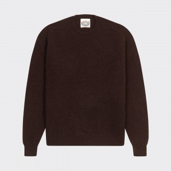 Brushed Wool Crewneck Knit : Chocolate