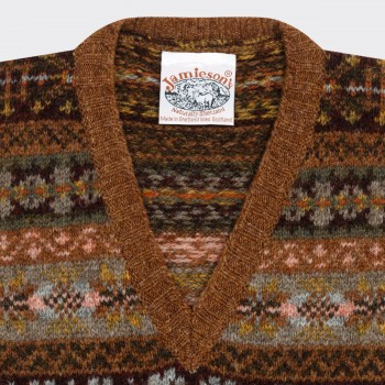 Pull Col V Sans Manches Fair Isle : Marron`