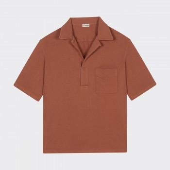 Polo Col Ouvert Jersey de Coton : Sorbet