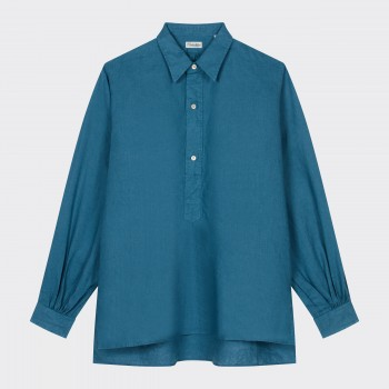 Chemise Popover en Lin : Turquoise