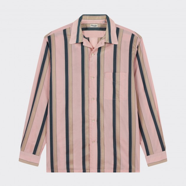 Chemise Col ouvert à Rayures : Rose Pale/Beige/Marine