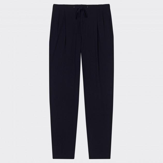« Easy-pants » en Coton à Double Pinces : Marine