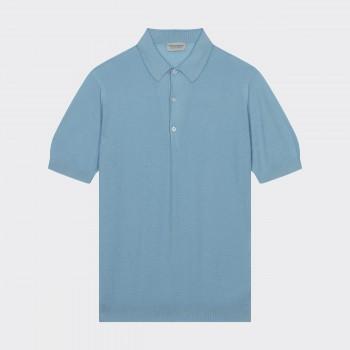 Polo Coton Texturé : Bleu Pastel