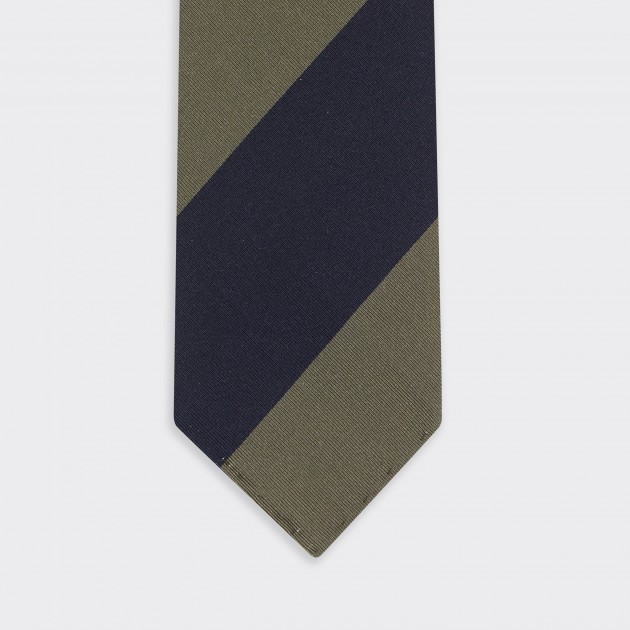 Cravate Club Soie : Marine/Olive