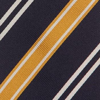 Cravate Club Soie : Marine/Jaune/Blanc