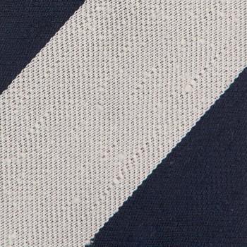 Cravate Larges Rayures Soie Shantung : Marine/Blanc