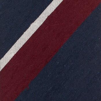 Cravate Larges Rayures Soie Shantung : Marine/Bordeaux/Blanc