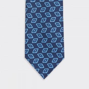 """Eyes"" Motif  Silk Tie : Navy/Blue"