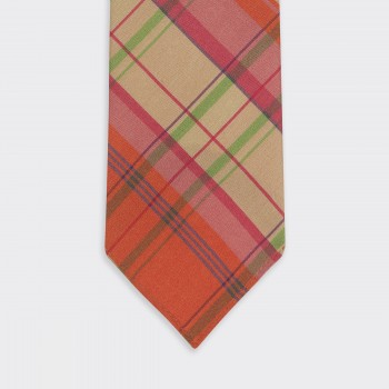 Check Madras Silk Tie : Orange/Pink/Green/Beige