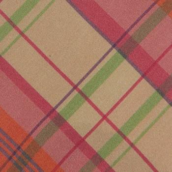 Cravate Carreaux Madras Soie: Orange/Rose/Vert/Beige
