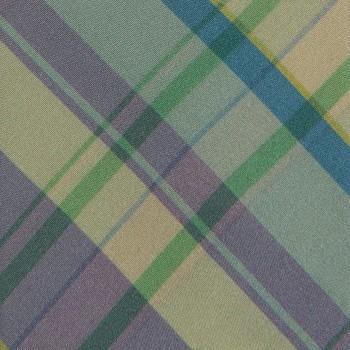 Cravate Carreaux Madras Soie: Vert/Violet/Bleu/Beige