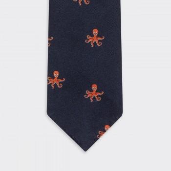 Cravate « Pieuvre» Soie : Marine/Orange