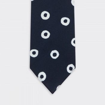 Cravate Cercle Soie : Marine/Blanc