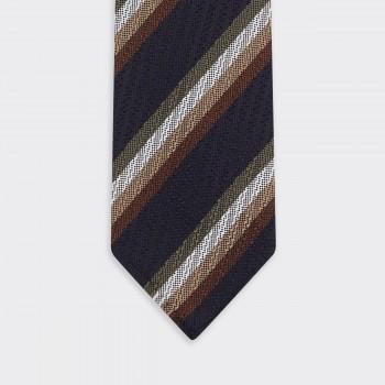 Textured Stripe Silk Tie : Navy/White/Brown/Beige/Olive