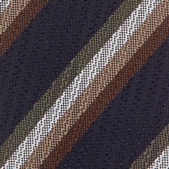 Cravate Rayures Texturées Soie : Marine/Blanc/Marron/Beige/Olive