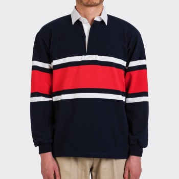 Striped Rugby Shirt : Navy/White/Red