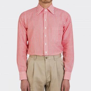 Chemise Col Boutonné à Rayures Bengal Lin et Cotton : Blanc/Orange