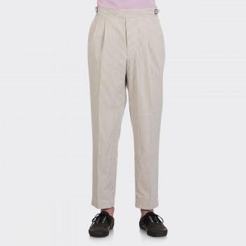 Pantalon Seersucker à Pinces: Beige/Blanc