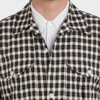 «Shirt-Jacket» à Carreaux Col Ouvert: Noir/Beige/Blanc