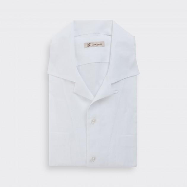 """Chemise """"Loop Collar"""" en lin : Blanc"""