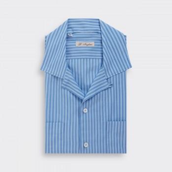 """Chemise """"Loop Collar"""" à rayures : Bleu/Bleu Ciel"""