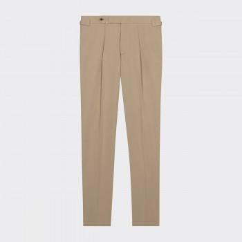Pantalon en Gabardine à Pinces : Beige