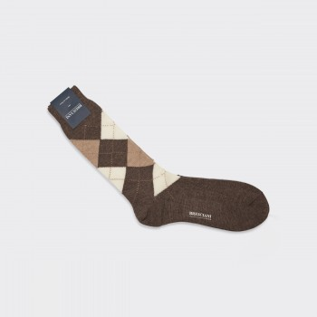 Wool Argyle Short Socks : Beige/Brown/Cream