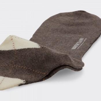 Chaussettes Courtes Argyle Laine : Beige/Marron/Crème
