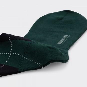 Chaussettes Courtes Argyle Laine : Vert Foncé/Marron/Marine