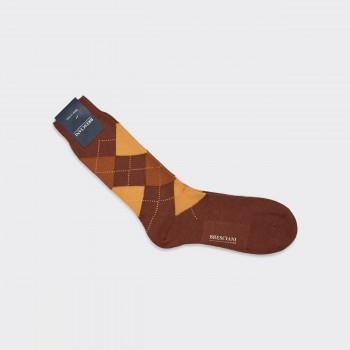 Coton Argyle Short Socks : Brown/Yellow