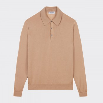 Merino Wool Long Sleeves Polo Shirt : Beige