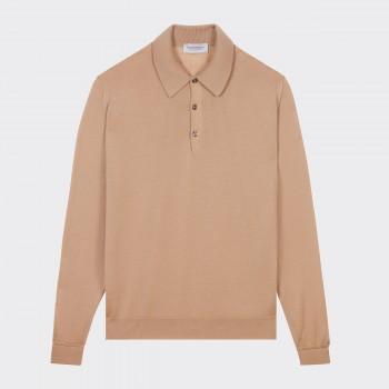 Merino Wool Long Sleeves Polo Shirt : Light Camel